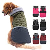 EMUST Dog Coat for Winter, Waterproof Dog Jackets for Cold Weather with Fleece Collar, Reversible Puppy Clothes for Small Dog, Windproof Dog Clothes Dog Apparel, S