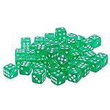 MagiDeal 50 Stück D6 12mm Transparent Knobel Würfel / Augen Würfel Spielwürfel Tischspiele für Brettspiele Party - Grün