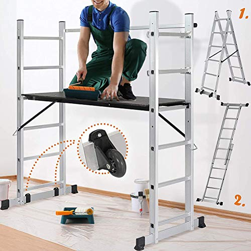 Andamio de aluminio con escalera multifuncional transformable en escalera de caballete y de apoyo, altura de plataforma regulable, con ruedas y barandilla, capacidad de carga de 150 kg