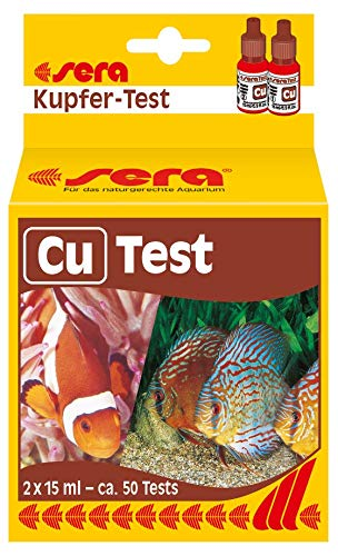 sera 04710 Kupfer Test (Cu), Wassertest für ca. 50 Messungen, misst zuverlässig und genau den Kupfergehalt, für Süß- & Meerwasser, im Aquarium oder Teich