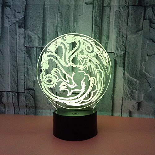 Drache Zeichen 3D Illusion Lampe Led Nachtlicht Mit 7 Farben Blinkt Touch-Schalter Usb Powered Schlafzimmer Schreibtischlampe Für Kinder Geschenke Home Kinderzimmer Dekoration