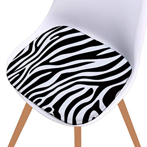 PYapron Schaumstoff-Sitzkissen Nicht Beleg dinging Stuhl-Auflage, 100% Schwamm Schwarzweiss-Zebra-Stuhl-Auflage, Set von 4 Premium-Kissen Stuhl Sitzkissen für Bürostuhl,E