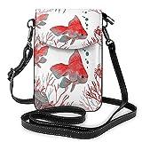 Monedero para teléfono celular con diseño de pez de acuario para mujeres y hombres, pez ángel de acuarela, pez de acuario, coral, océano marino, cuero de PU, bolso cruzado para teléfono, bolso pa