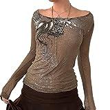 Blusa de manga larga con estampado floral Y2K con malla gráfica para mujer, marrón, S