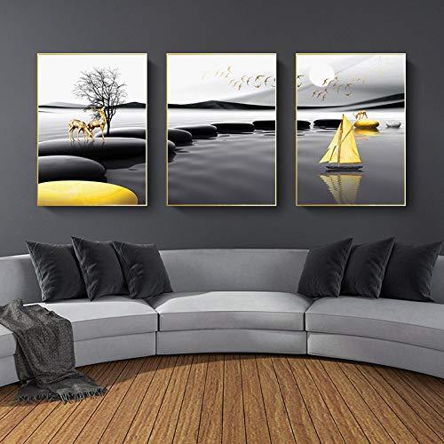 Pintura en lienzo, póster de paisaje moderno, arte de pared de ciervo amarillo negro, impresión nórdica, cuadros de pared, sala de estar, decoración navideña-30x40x3 sin marco