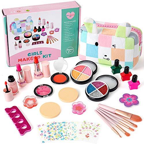 EFO SHM Kinderschminke Set 27 Stück Waschbar Real Cosmetic Make Up Set für Mädchen Spiel Spielen Halloween Weihnachten Geburtstagsfeier Rollenspiel Spielzeug Geschenk