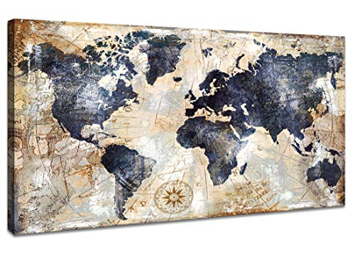 Canvas Wall Art World Map Wall Art for Office Decor Artwork Print Picture Home Interior Decor - Map Picture for Living Room Office Bedroom Wall Decor Canvas Artwork 24x48inch Ready to Hang