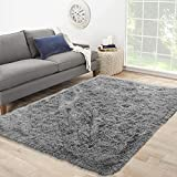 Extra Soft Furry Rug for Living Room Shag Area Rug for Bedroom Fluffy, Cute Plush Carpet for Kids Shaggy Fuzzy Indoor Home Decor Couch Sofa Nursery Boys Girls Teen College Dorm Accent Comfy 5x8 Grey