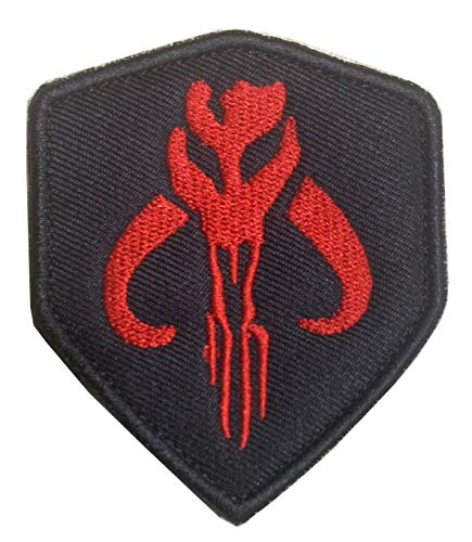 Movie Film Skull Mercenary Shield Bounty Hunter Military Embroidered Badge Emblem Patch Hook & Loop Tactical Patch for Backpacks Caps Jersey Jeans Jacket-Red