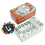 Pureplay Classic Double 12 Colored Dot Dominoes Set,Mexcian Train Game,with Plastic Pieces,91 Colored Dot Tiles and Durable in Tin Case for Adults and Families-2-4 Players