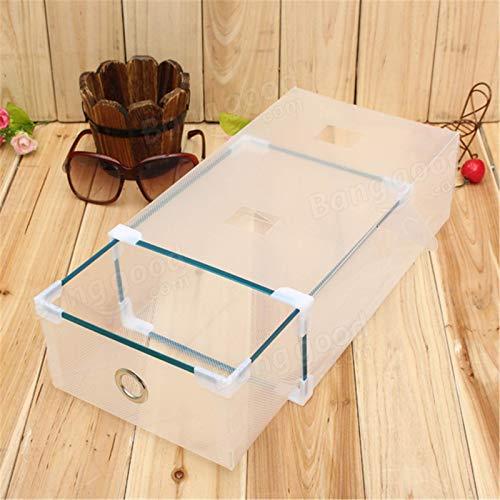 Chengzuoqing Caja de zapatos transparente cajón, organizador plegable, para zapatos y zapatos deportivos (tamaño: 30 x 17 x 9 cm; color: blanco)