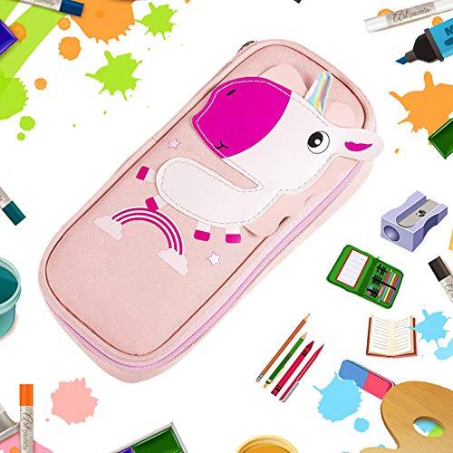 BETOY Estuche , Bolsa de lápices, Pen Bag Pencil Case,Gran Capacidad, Escolar Creativa de Gran Capacidad Cartera Bolsa de Cosméticos Conveniente para niños y niñas,Unicornio rosa