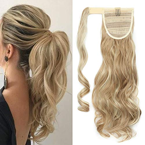 TESS Pferdeschwanz Extensions Ponytail Haarteil Clip in wie Echthaar Haarverlängerung günstig Zopf Extensions Haarteile Gewellt 17