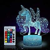 Unicornio luz nocturna para niños, juguetes de unicornio para niña, 16 colores cambiantes lámpara de noche con mando a distancia 1169