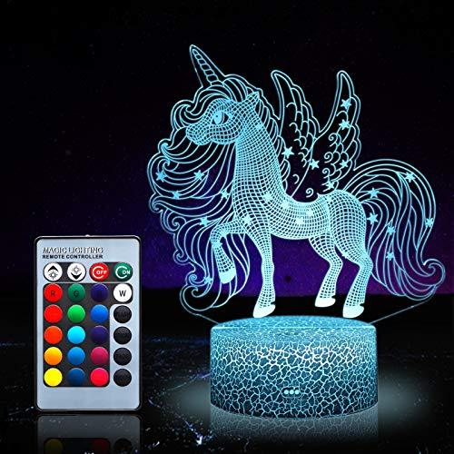 Luz de noche de unicornio para niños, juguetes de unicornio para niña, 16 colores cambiantes lámpara de noche con mando a distancia 1169