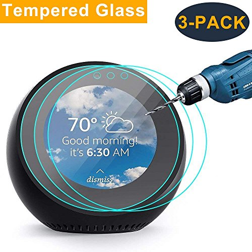 CAVN 3-Pack Screen Protector Compatible with Amazon Echo Spot, Tempered Glass Full Coverage High Definition Screen Cover Saver Guard