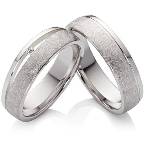 frencheis Eheringe Verlobungsringe Trauringe aus 925 Silber mit Einem Zirkonia und kostenloser Gravur SPZ43