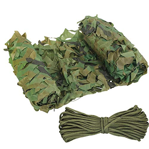 LOPOTIN Large Camo Netting Bulk Roll Camouflage Net Oxford Fabric Minitary Nets Woodland Camouflage Netting for Car Cover Hunting Shooting Camping Hide Home Garden Decor