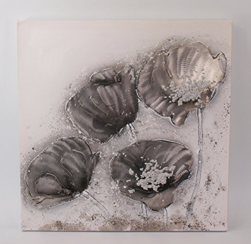 TD Wandbild Gemälde Blüten auf Leinwand handgemalt mit Aluminium Ornamenten 50 x 50 cm von Gilde Handwerk (wiß grau - A)