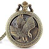 LXYZ Vintage Schmuck Antike Bronze Adlerflügel Shiying Huai Tischtaschenuhr Halskette Anhänger Geschenk für Männer und Frauen