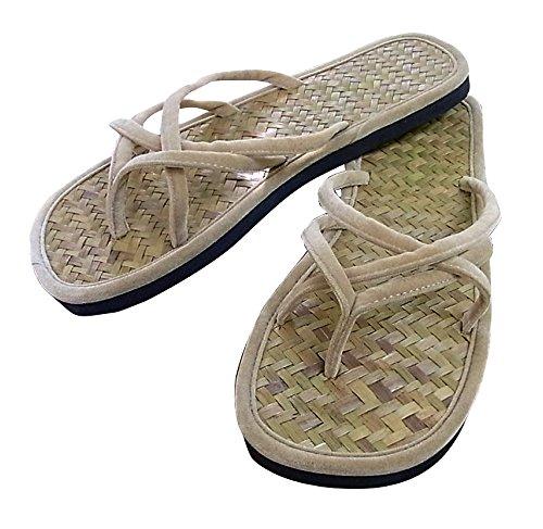 Damen Sandalen Zehentrenner aus Bambus und Velour Made in Chiang Mai Nord Thailand (40 2/3 EU)