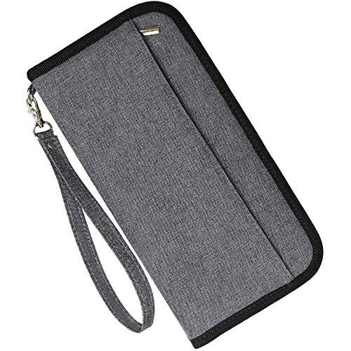 COCASES Reisepasshülle, RFID Schutz Passport Hülle mit 2 Kofferanhänger Set (Dunkel Grau)