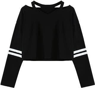 Fanteecy Womens Casual Simple Style Crop Top Long Sleeve V Neck Cute Blouse Sweatshirts