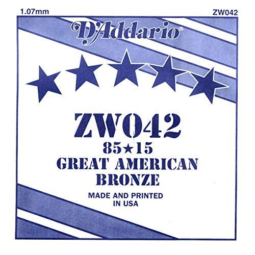 D'Addario ZW042 Bronze-Einzelsaite für Gitarre 0,11 cm (0,042 Zoll)
