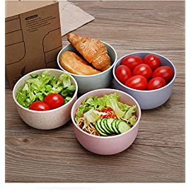 Nordic wheat straw tableware student cute Japanese rice bowl set household children shatter-resistant anti-hot insulation bowl