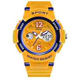Jungen Uhren Mädchen Uhren Kinder Armbanduhr Jungen Digital Analog Wasserdicht Sports Uhren Für Jungen Und Mädchen Digital Uhr Sports Uhren,Gelb