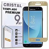 REY Protector de Pantalla Curvo para Samsung Galaxy J5 2017, Oro, Cristal Vidrio Templado Premium, 3D / 4D / 5D