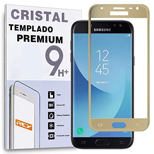 REY Protector de Pantalla Curvo para Samsung Galaxy J5 2017, Oro, Cristal...