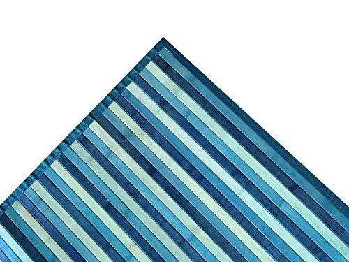 ALFIO SHOP Tappeto Bamboo SFUMATO PASSATOIA Cucina E Multiuso 50X280 Verde (Azzurro)