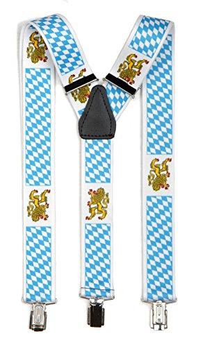 A. Blöchel Extrem breite & Elastische Hosenträger mit 3 Metall Clips Y Form in verschiedenen Farben (Bayern mit Wappen)