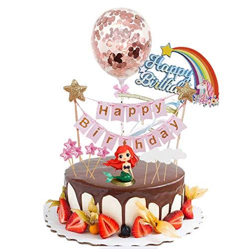 INTVN Sirena Decorazione Torta Compleanno Cake Topper Kit,Happy Birthday Cake Topper Decorazioni,Nube Arcobaleno Palloncino Stelle per Ragazzi Ragazze Bambini
