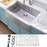 """VCCUCINE Farmhouse Sink,Commercial Brushed 30"""" undermount Drop-in Single Bowl Basin Handmade SUS304 Stainless Steel Apron Kitchen Sink,Brushed Nickel farm sink With Dish and Drain Assembly"""