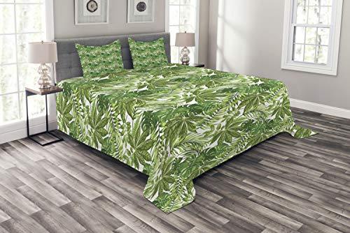 ABAKUHAUS Palmblatt Tagesdecke Set, Dschungel-Laub-Eco, Set mit Kissenbezügen Weicher Stoff, für Doppelbetten 264 x 220 cm, Green Olive Green White