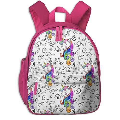 Zaino per bambini 2 anni,Unicorn Queen With Flowers_2327 - theartwerks, Per scuole per bambini Panno Oxford (rosa)