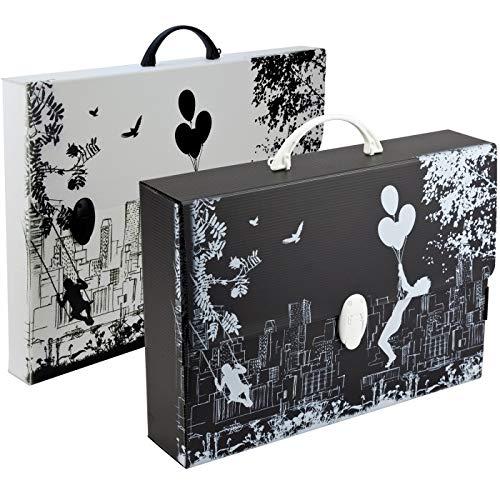Valigetta portadocumenti in Polionda 28 x 39 x 8 con una Chiusura Black & White Balmar