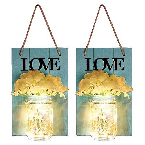 2er Set Mason Jar Sconce Wanddekoration mit LED-Lichterkette, Garten Hängeleuchten mit Blumen,LED Lichterkette für Landhaus Büro Kinderzimmer Dekor (Blau)