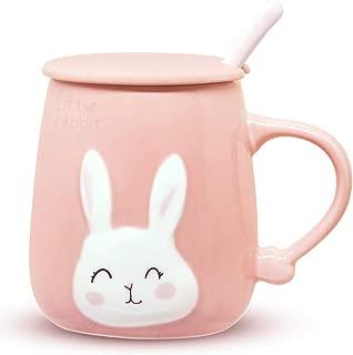 Angelice Home Pink Bunny Coffee Mug 13 Oz, Cute Rabbit Coffee Mug Cup with Lid and Ceramic Spoon for Coffee Tea Milk