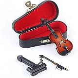 Bestlymood ViolíN en Miniatura Madera con Soporte, Arco y Estuche Instrumento Musical Modelo de Casa de Mu?Ecas en Miniatura DecoracióN (3.15 Pulgadas X 1.18 Pulgadas X 0.59 Pulgadas)