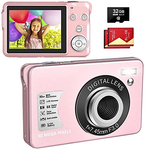 LINNSE Cámara digital compacta, 30 MP, 2,7 pulgadas, con zoom digital de 8x, cámara digital con tarjeta SD de 32 GB y 2 pilas (rosa)