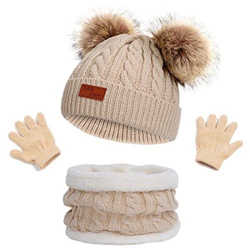 Kinder Wintermütze Schal Handschuhe Mädchen Set Strickmütze Babymütze Kinder Mütze Set Baby Mütze Warme Winter Beanie Hut Jungen Handschuhe runder Schal Set für Kinder 3-8 Jahre (Khaki)