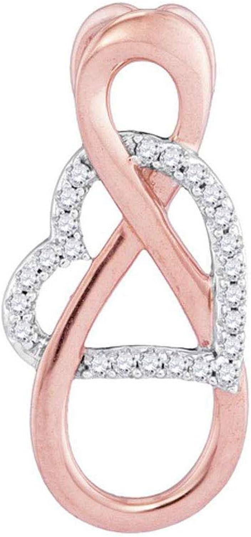 10kt Twotone gold Womens Round Diamond greenical Infinity Heart Pendant 1 10 Cttw