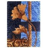Kit de Ganchillo, Alfombras Kit Bordado Punto de Cruz Sin Terminar, Alfombra de Hilo Cojín Bordado Decoración del Hogar, 52 x 38 cm (Color : Flower)