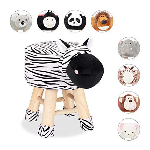 Relaxdays Tierhocker Zebra, Dekohocker Kinder, Abnehmbarer Bezug, Holzbeine, gepolstert, Kinderhocker Tiere, schwarz-weiß