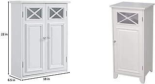 Elegant Home Fashions Dawson Wall Cabinet, White & Dawson Bathroom Cabinet, White