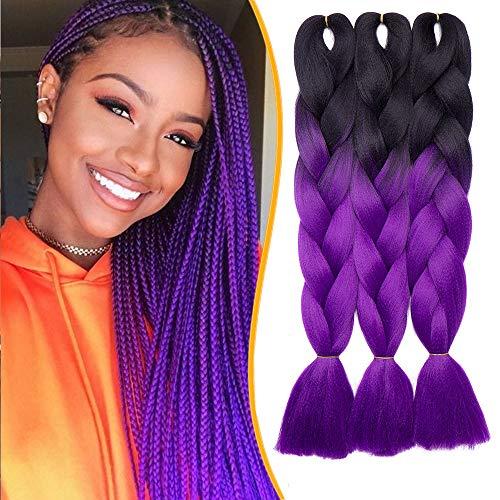 60cm-Treccine Africane Extension 3 Pezzi Capelli Finti per Treccia Extension Trecce Lunghe Braiding Hair–Nero a Viola