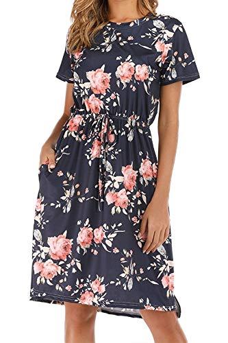 CLOUSPO Sommerkleid Damen Elegant Kurzarm Rundhals Knielang Blumenkleid Strandkleid (Medium, Dunkelblau)